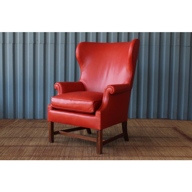 Animal Skin 1940s Orange Leather Wingback Armchair For Sale - Image 7 of 11