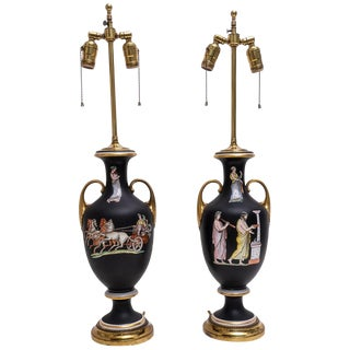 Old Paris Neoclassical Grand Tour Enamel Painted Table Lamps - a Pair For Sale