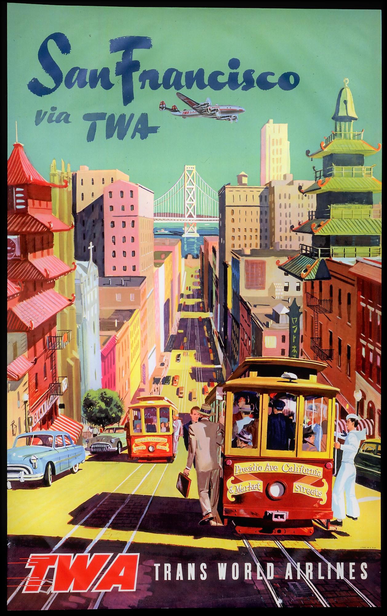 Wonderful Matted And Framed Vintage San Francisco Travel Poster   Image 2 Of 3