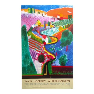 "David Hockney Rare Vintage 1988 Lithograph Print Iconic Met Museum Exhibition Poster "" Nichols Canyon "" 1980 For Sale"