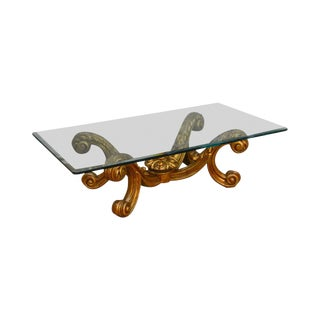 Hollywood Regency Rococo Style Gilt Wood Glass Top Coffee Table