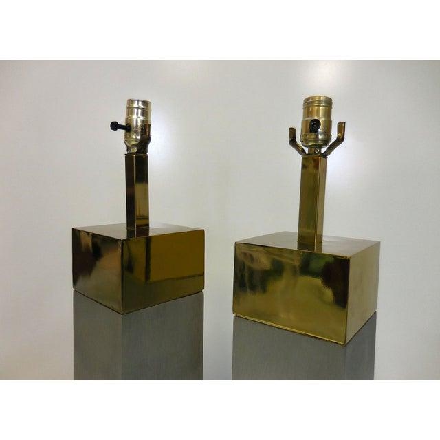Laurel Brushed Aluminum & Brass Lamps - A Pair - Image 4 of 9