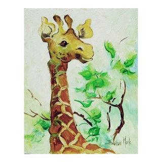 Giraffe Oil on Board by Barbara Mock For Sale