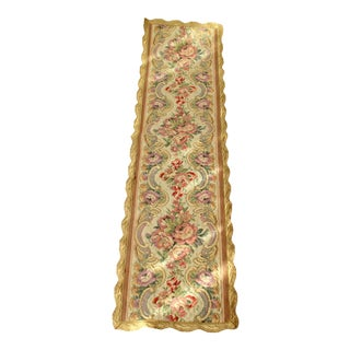 1970s Brocade Table Runner With Golden Edge For Sale