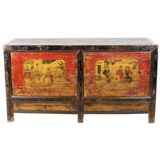 Late 19th Century Antique Mongolian Chinese Rustic 2 Door Painted Sideboard Cabinet For Sale