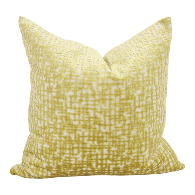 "Kenneth Ludwig Chicago Crevasse Citron 20"" Square Pillow For Sale"