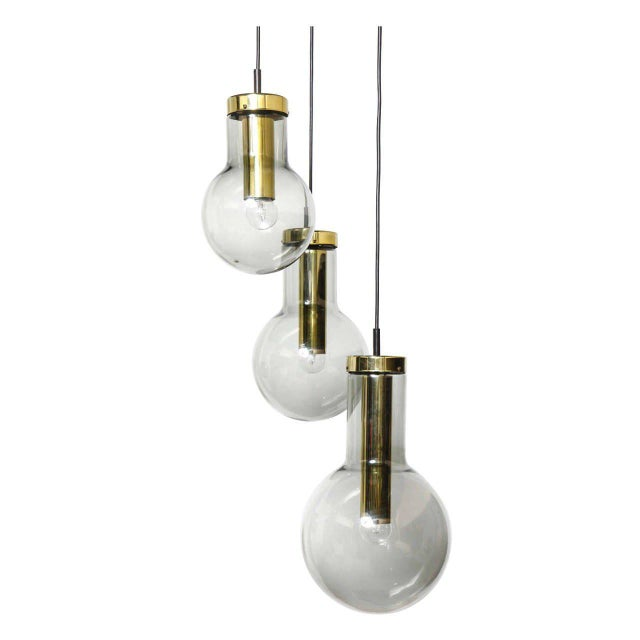 Smoked Three Glass Raak Chandelier,1970s For Sale - Image 9 of 9