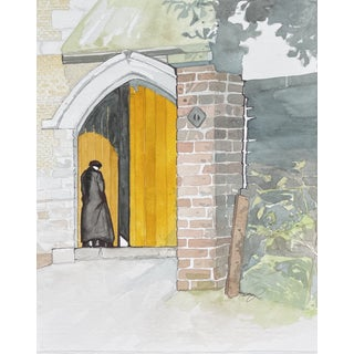 """""""Through the Yellow Doors"""" Contemporary Figurative Architectural Watercolor Painting by Tawna Allred For Sale"""