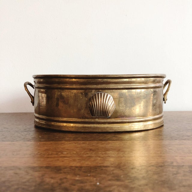 Metal Vintage Brass Oval Planter With Seashell For Sale - Image 7 of 7
