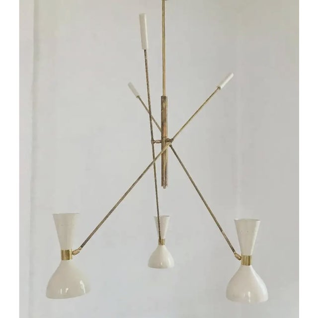 2020s 'Triennale' Style Adjustable Three-Arm Chandelier For Sale - Image 5 of 8