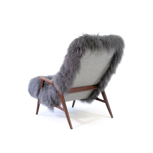 1950s Jio Mobler Siesta Chair in Mongolian Sheepskin For Sale - Image 5 of 11