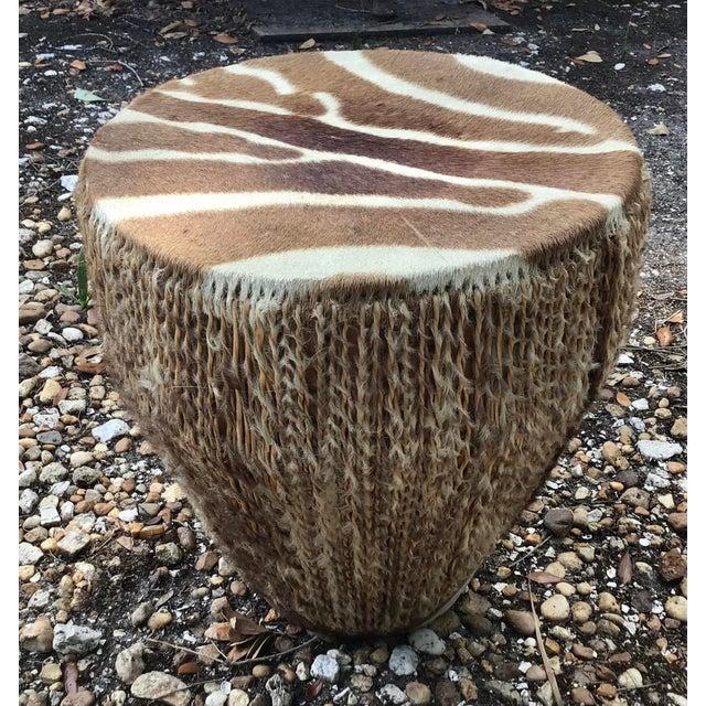 Hide African Zebra Hide Tribal Drum Table For Sale - Image 7 of 8