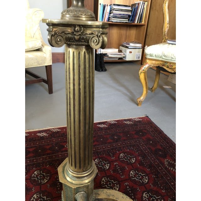C. 1900 Neo Classical Brass Pillar Fireplace Andirons - a Pair For Sale - Image 10 of 13