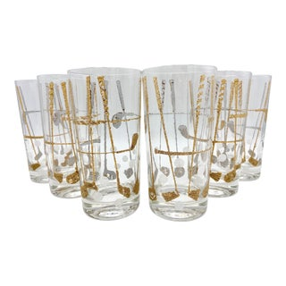 Vintage Georges Briard Gold Golf Club Highball Glasses - Set of 6 For Sale