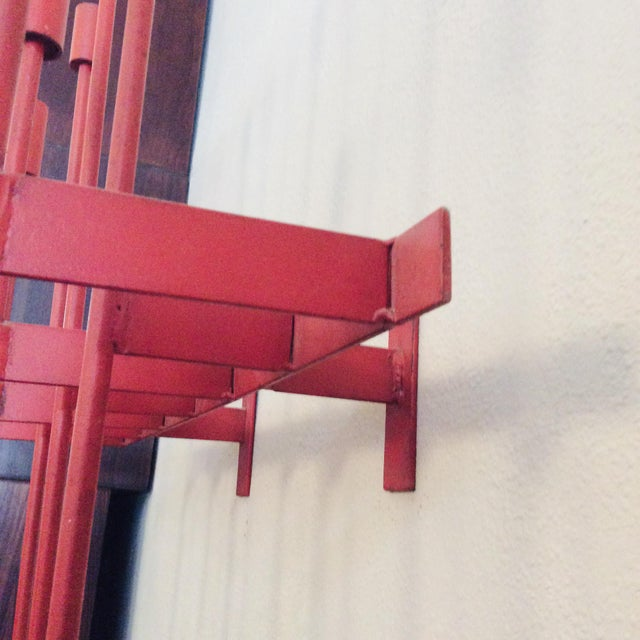 Metal Mid-Century Modern Don Drumm Red Wall Sconce Candelabra For Sale - Image 7 of 9
