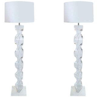 """Pair of 1970s """"Spiral"""" Floor Lamps in Lucite For Sale"""