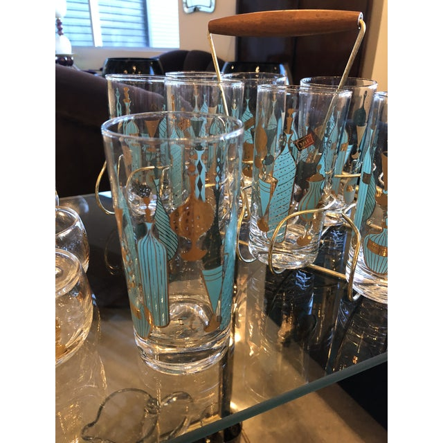 Mid Century Modern Eight Mid-Century Tom Collins Glasses with Exotic Barware Decoration & Caddy - Image 2 of 11