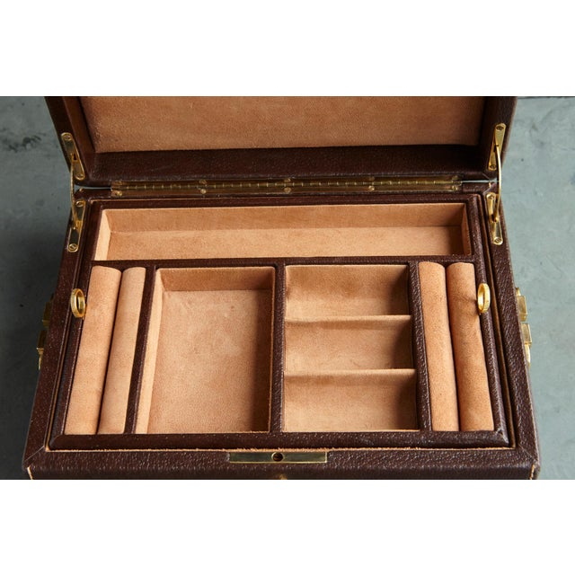 1980s Mark Cross Leather Brown Leather Jewelry Box From the Collection of Ann Turkel For Sale - Image 5 of 13