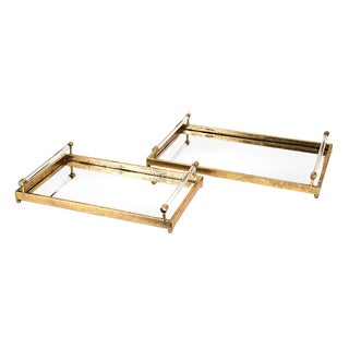 Gold Mirrored Tray With Clear Acrylic Handles - A Pair For Sale