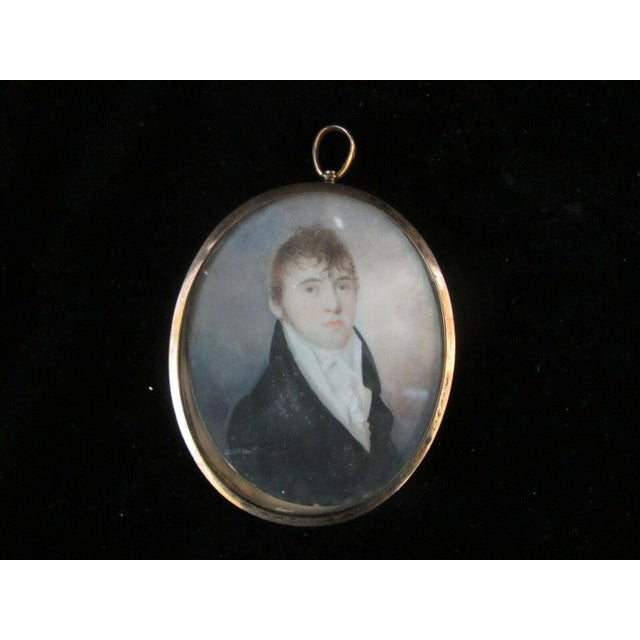 Antique 18th Century Portrait Painting of Handsome Young Man in Metal Oval Frame For Sale - Image 4 of 4