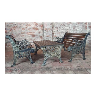 19th Century Traditional Cast Iron & Wood Patio / Garden - 3 Piece Set For Sale