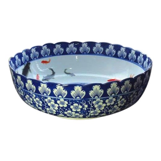 Pasargad N Y Ceramic Blue and White Washing Basin For Sale