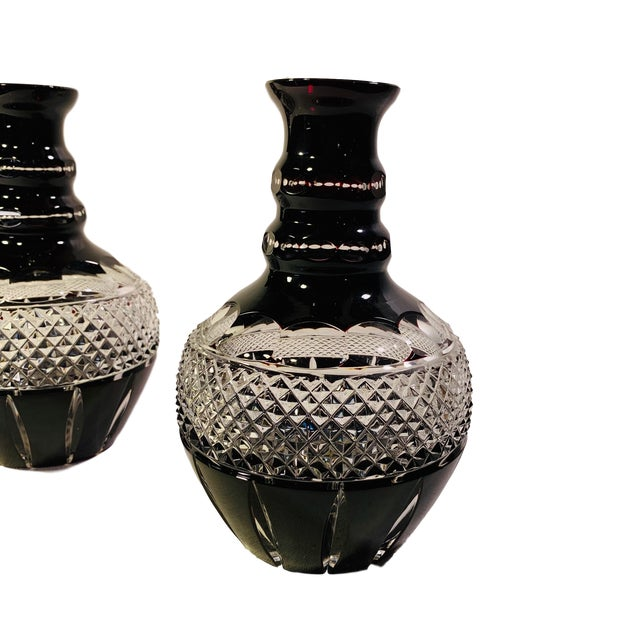 Antique Bohemian Hand Cut Layered Ruby Crystal Glass Carafe Vases - a Pair For Sale - Image 4 of 6