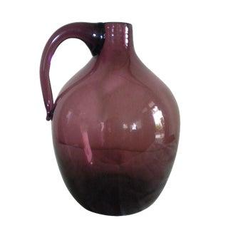 Vintage Hand-Blown Glass Jug For Sale