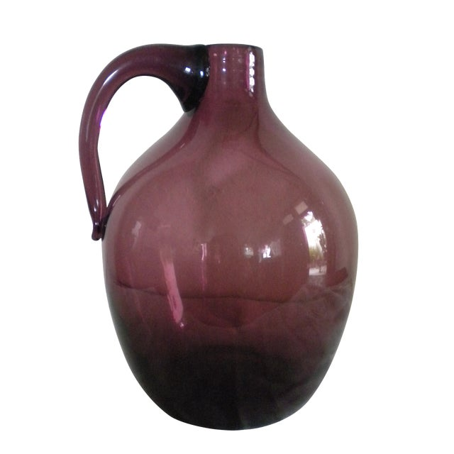 Vintage Hand-Blown Glass Jug - Image 1 of 4