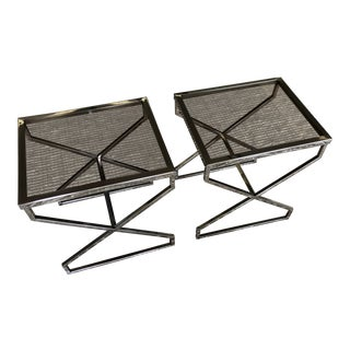 Chrome X Frame Side Tables - a Pair