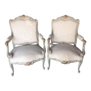 19th C French Giltwood and Painted Arm Chairs For Sale