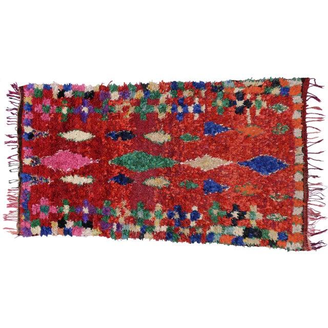 Vintage Berber Moroccan Boucherouite Rug For Sale In Dallas - Image 6 of 6