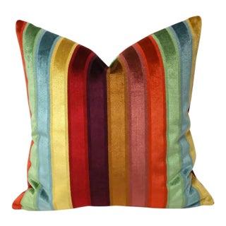 Kravet Couture Rainbow Stripe Velvet Pillow Cover For Sale