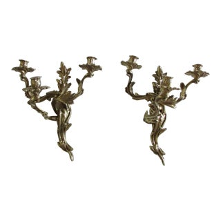 Vintage French Louis XV Style 3 Arm Brass Wall Sconces - a Pair For Sale