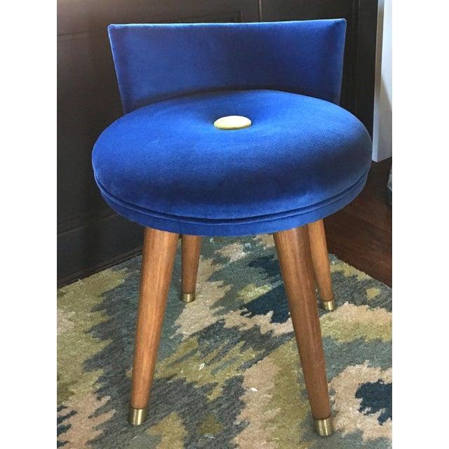 Mid-Century Modern Swivel Blue Velvet Vanity Chair For Sale - Image 9 of 9