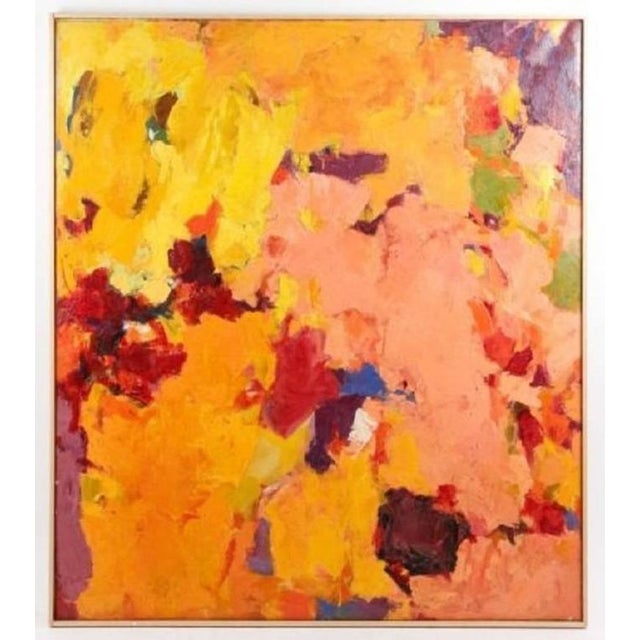 Yellow 1957 Abstract Multi-Color Framed Oil on Canvas Painting by Carol Haerer For Sale - Image 8 of 9