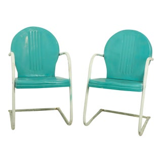 Mid Century Metal Lawn Garden Patio Chairs by Shott - a Pair For Sale