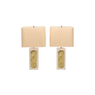George Matthias Pair of Brass Etched and Travertine Lamps - 1970s For Sale