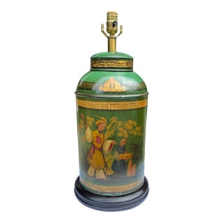 Antique English Chinoiserie Tea Canister Lamp For Sale