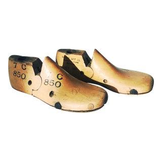 Vintage Child's Size 7 Wood Shoe Lasts - a Pair For Sale