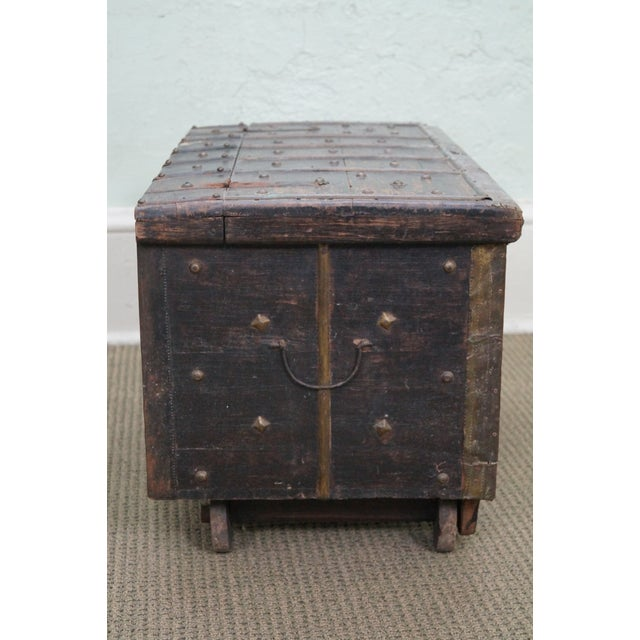 Antique Moroccan Iron & Brass Bound Lidded Chest - Image 8 of 10