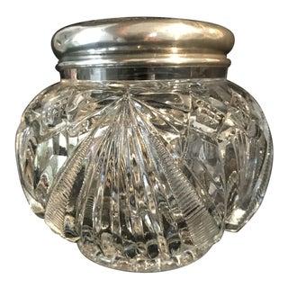 1930s Art Deco Cut Crystal Silver Lid Vanity Jar For Sale
