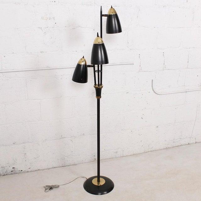 Mid-Century Black 3-Arm Adjustable Floor Lamp - Image 3 of 9