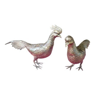 Sterling Silver Male and Female Bird Figurines - a Pair For Sale