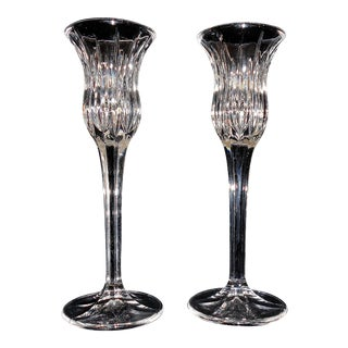 """1990s Mikasa Icicles 8"""" Crystal Candlestick Holders - a Pair For Sale"""