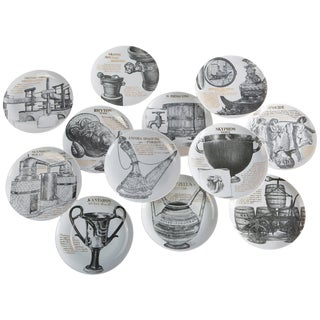 Set of 12 Fornasetti Plates for Martini & Rossi For Sale