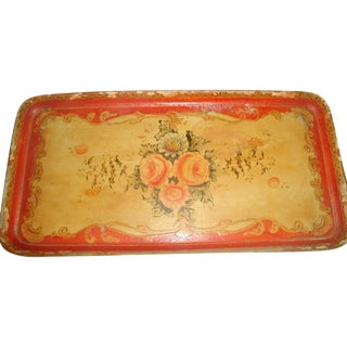 1900's Hand Painted Vibrant Papier Mache Tray For Sale