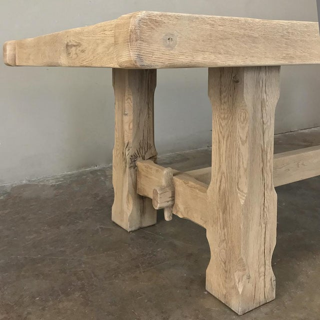Antique Grand Rustic Stripped Oak Dining Table For Sale - Image 9 of 11