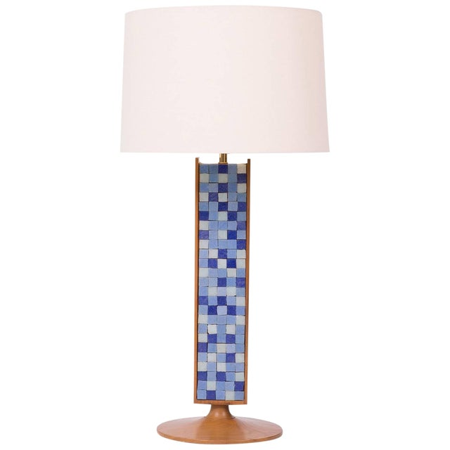 Walnut Mosaic Table Lamp For Sale