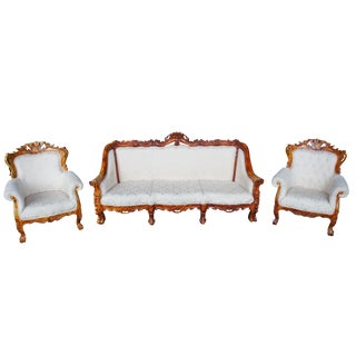 Antiqued Baroque Rococo High Relief Carved Set Settee & Chairs Continental Sofa For Sale